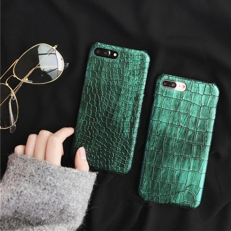 Green Sequins Crocodile Skin Case For iPhone X 7 8 Plus Case PU Leather Hard Cover Phone Cases For iPhone 6S Plus iPhone Case