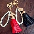 FREE SHIPPING! High Quality Fashion Four Leaf  Pearl PU Tassel  leather Car Keychain Key Chain For Women Bag Charms Llaveros