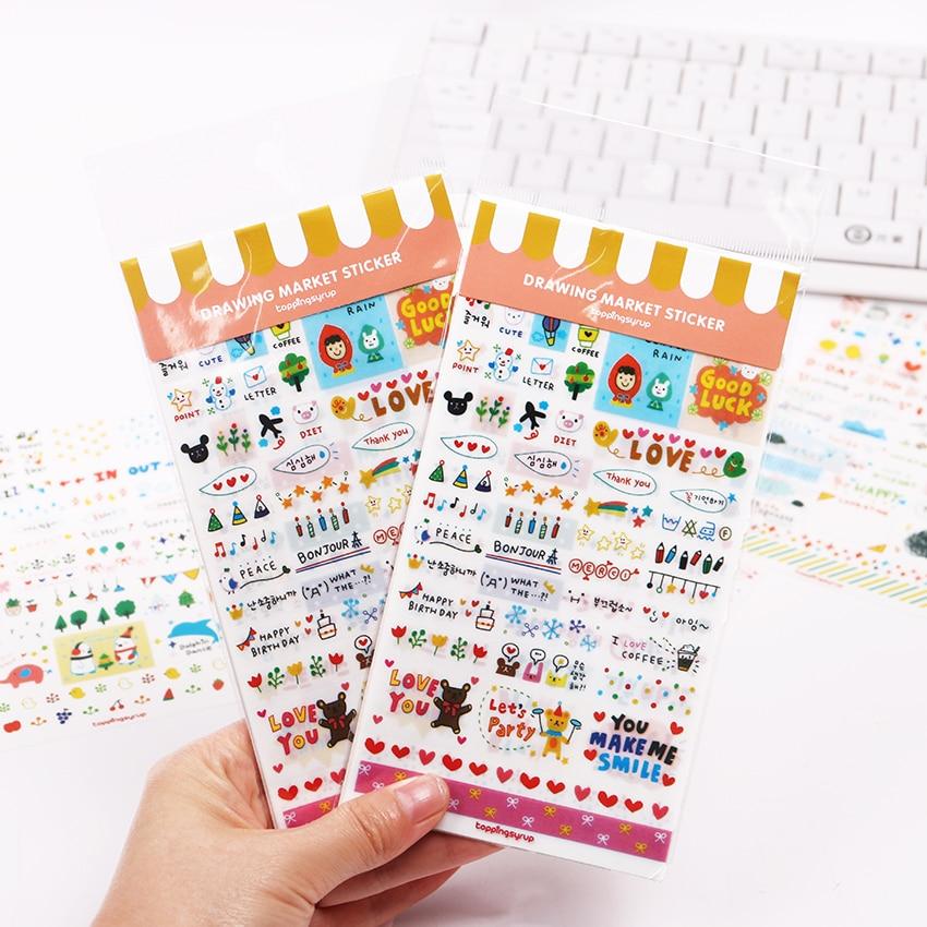 6 шт./компл. наклейки милые ПВХ обои из Кореи прозрачные хлопья печать карты для DIY Дневник оформление календарей наклейки канцелярские
