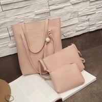 3 предмета набор Для женщин Композитный сумка из искусственной кожи Цвет бисера Ленточки дорожная сумка Повседневное Курьерские сумки lby201