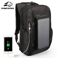 Kingsons Solar Charging Backpack for Men Women Laptop Computer Backpack 15.6/17.1 inch Male Backpack Waterproof Mochila Hombre