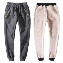 YIHUAHOO חורף מכנסיים גברים 6XL 7XL 8XL מזדמן עבה פרווה בטנה חם מכנסי טרנינג צמר אלסטי מכנסיים הסווטשרט מסלול מכנסיים גברים