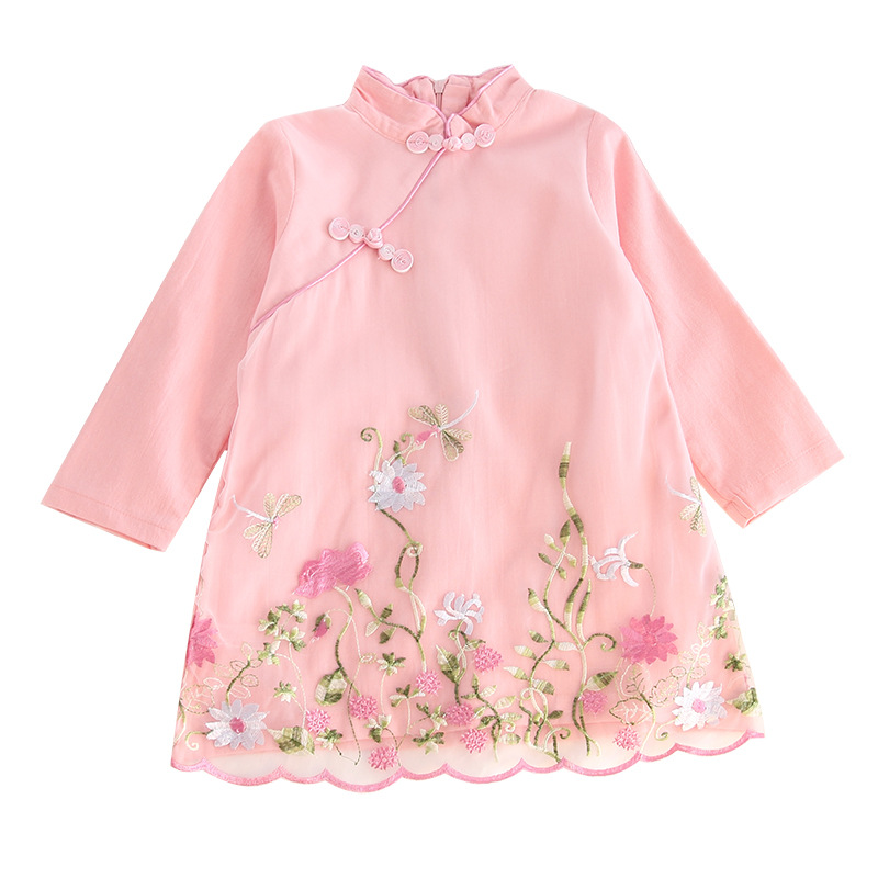 Children's Wear Girls Embroidered Cheongsam Baby Vintage National Wind Clothes Long Sleeve Button Dress vintage round collar long sleeve embroidered organza dress for women page 7