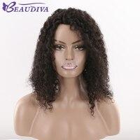 Beaudiva предварительно Цветной странный вьющиеся волосы парик 18 дюймов 1B # натуральный Цвет афро кудрявый волна 110 г 100% парики человеческих вол