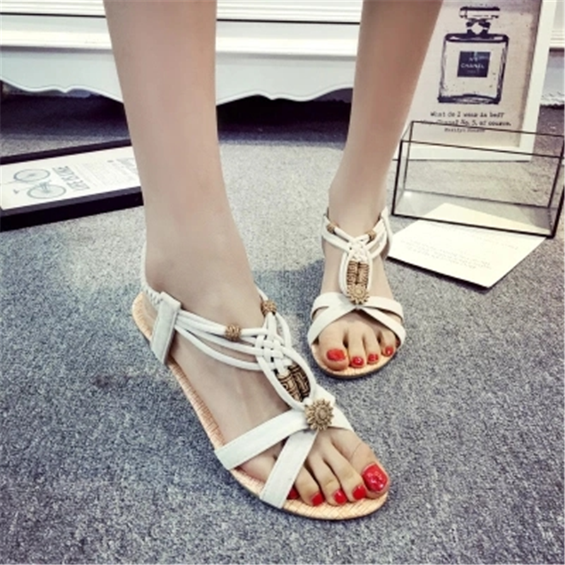 Sandals Shoes Footwear Flip-Flops Low-Heels Female Gladiator Women Summer On Slip