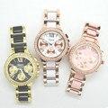 Fashion Crystal 2016 GENEVA Watch Women luxury rhinstone Two-tone Acrylic Bracelet Jewelry Watches for girls
