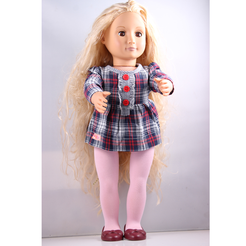 coffee hair 18inch American girl doll +our generation grid skirts set+shoes birthday Christmas gift for girls  AGD04