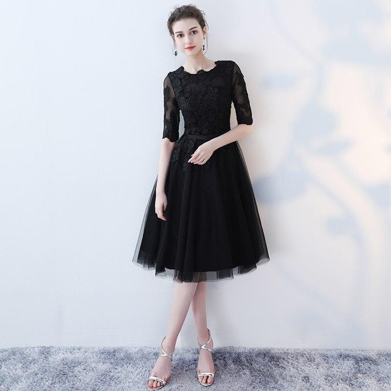 Simple Black Scoop Neck See Through Lace Vestidos De Festa A-Line Knee Length   Bridesmaid     Dresses   Half Sleeve Prom Gowns