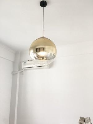 Image 3 - LukLoy Modern Mirror Glass Ball Pendant Light Copper Silver Gold Globe Loft Hanglamp Modern Lamp Kitchen Light Fixture-in Pendant Lights from Lights & Lighting