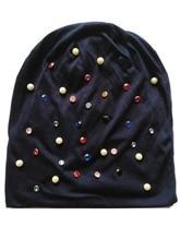 B-17906 Мода 100% хлопок хорошие эластичные цвета кристалл и жемчужные шапочки твердые hat дизайн пользовательского
