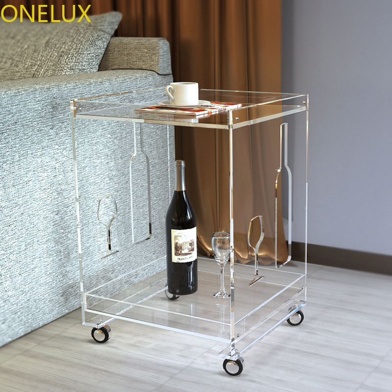 (KD Packed) Clear Acrylic Small Sofa Table On Wheels,Rolling Lucite Occasional End Corner Tea Tables - 40W-33D-53H CM clear acrylic a3a4a5a6 sign display paper card label advertising holders horizontal t stands by magnet sucked on desktop 2pcs