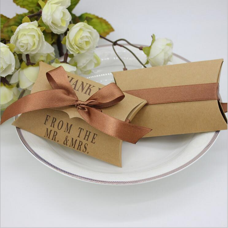 wedding gift boxes 200pcs kraft pillow shape wedding favor mr mrs thank you gift candy