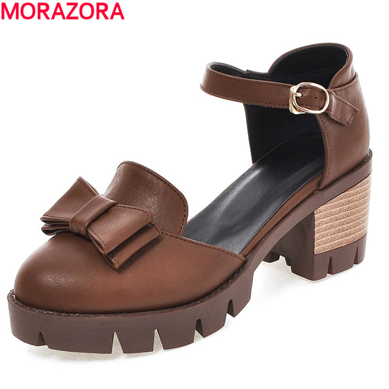 MORAZORA Women Sandals Plus Size 34-43 Narrow Band Ankle-Wrap Buckle Strap Cover Heel Square Heel Summer Woman Fashion Shoes fedonas women sandals plus size 34 43 fashion ankle strap high heel summer women pump shoes woman cute colors elegant sandals
