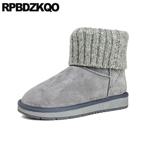 Round Toe Winter Snow Boots Women Ankle Booties Comfortable Knit Short Shoes Gray Casual Flat Slip On 2017 Fashion New Ladies 2017 new arrival hot sale women boots solid bowtie slip on soft cute women snow boots round toe flat with winter shoes wsz31