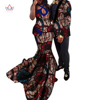 African Couple Clothes African Dresses for Women Bazin Riche Long Evening Dresses African Men Jacket Coat Clothing WYQ154