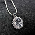 Classic Permanent 100% 925 Sterling Silver Jewelry AAA Crystal Zircon big CZ Necklace & Pendants For Women Body Chain Necklace