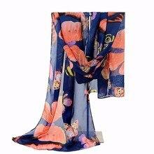 2018 New Fashion Women Lady Winter Classic Butterfly Print Shawls Scarf Scarves Chiffon Soft Long Scarf Size160*45cm
