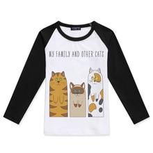 2019 Kids Clothes Girl Raglan Long Sleeve T-Shirts My Family Funny Cat Print Boy Tshirts Baby Boys Fashion T Shirt Child Tshirt raglan sleeve bowknot embellished cut out t shirt