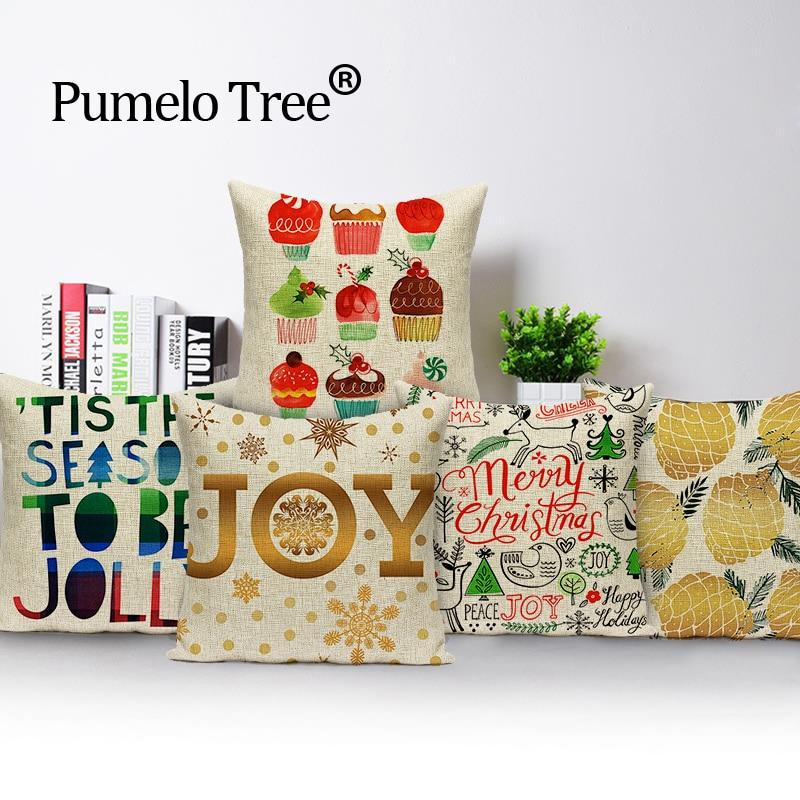 חג המולד פשתן חג המולד כרית פשתן כרית - טקסטיל בית