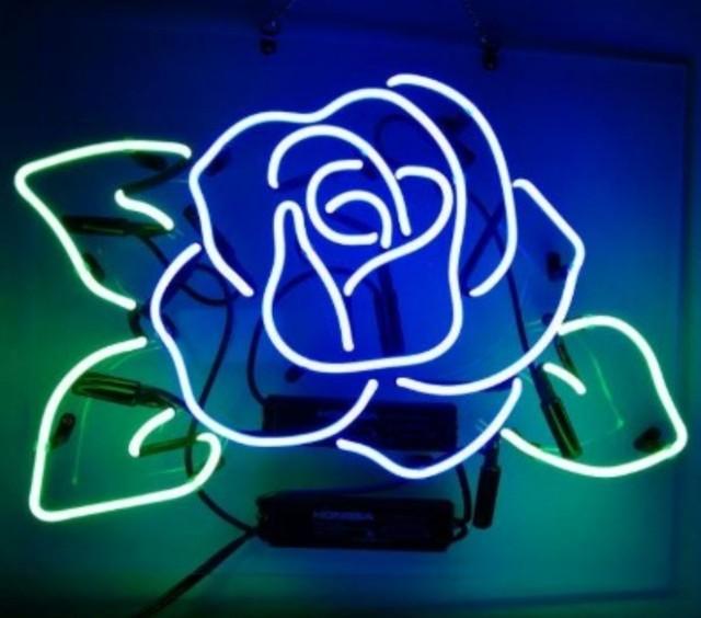 Custom Blue Rose Glass Neon Light Sign Beer Bar