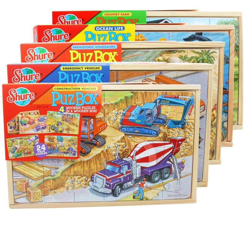 Bébé jouets 96 pièces Puzzle en bois jouet Animal dinosaure véhicules Puzzle conseil jouets éducatifs Parent-enfant jeu cadeau