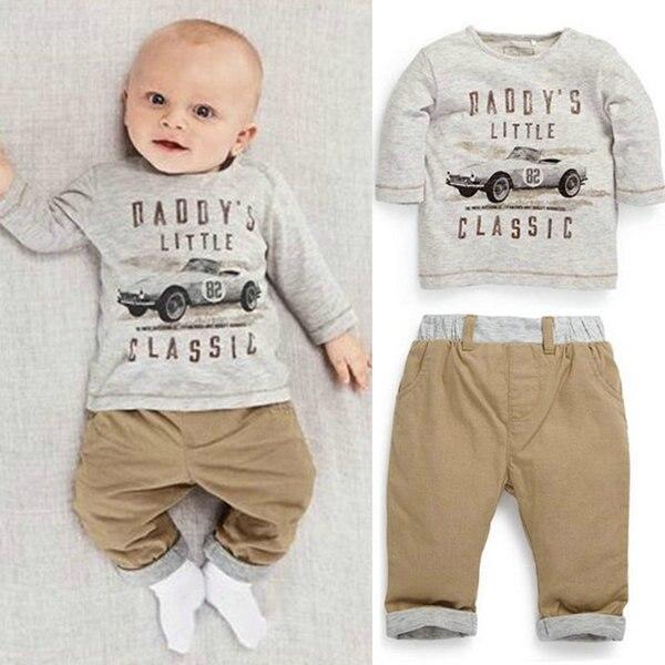 2017 детская хлопковая рубашка с длинными рукавами для мальчиков комплект одежды из двух ...