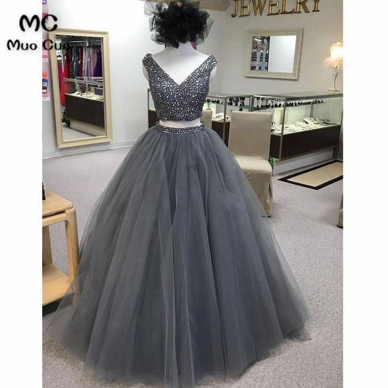 Elegant 2018 Ball Gown Beaded   Prom     dresses   Long Tulle Backless Graduation   Dresses   Two Pieces Gown Evening   Prom     Dress   for Women