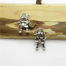 70PCS (17*10mm ) Antique Silver Robot Charms pendant fit European bracelet made diy Pendants for jewelry making