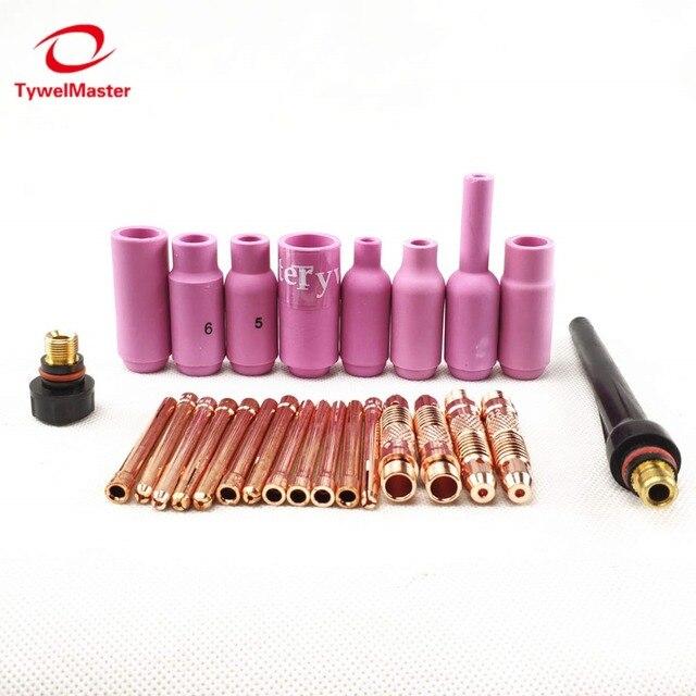 Argon TIG Torche De Soudage Consommables Électrode De Tungstène Collet Corps Dalumine Buse Longue Cap Court 26 pièces WP18 WP17 WP26 TIG kits