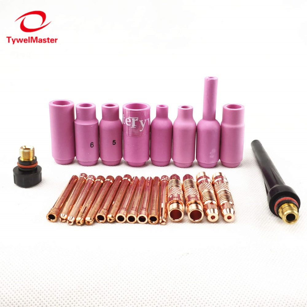 Argon TIG Welding Torch Consumable Tungsten Electrode Collet Body Alumina Nozzle Long Short Cap 26pcs WP18 WP17 WP26 TIG Kits