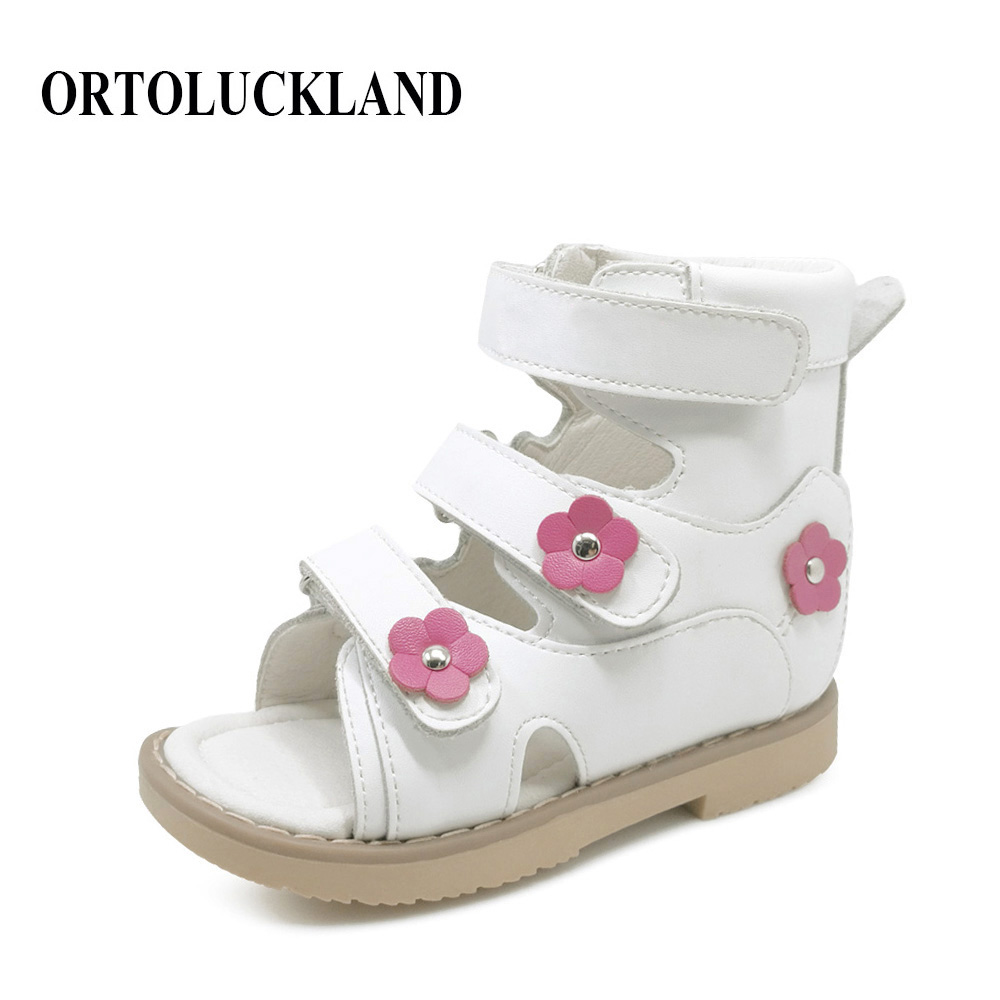 Flower Simple Lovely Children Girl White Genuine Leather Flat Foot Shoes Toddler Shoes Kids Orthopedic Sandals