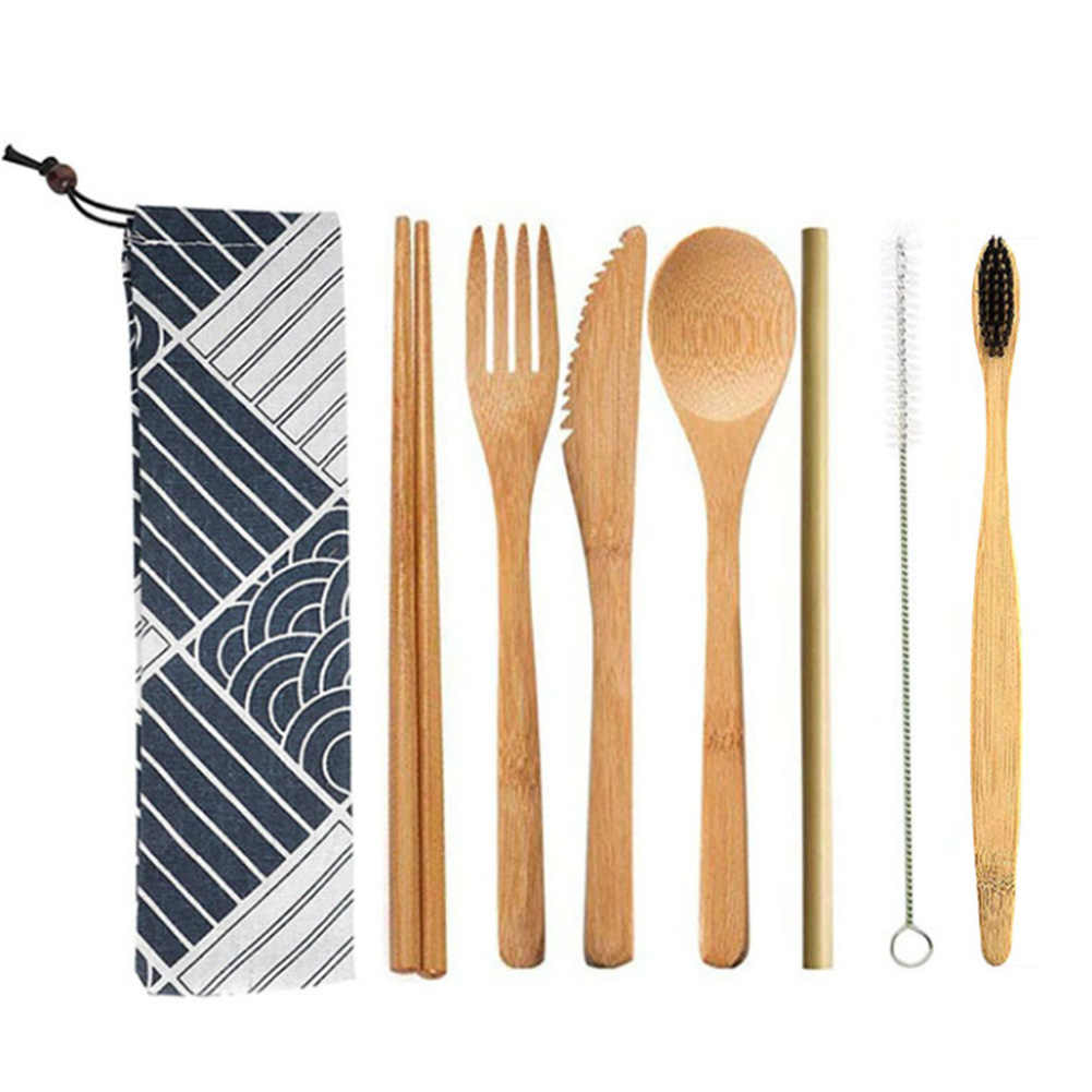 Kitchen Utensil Reusable Straw Picnic Spoon Fork Chopstick Bamboo Flatware With Cloth Bag Portable Cutlery Set Travel Knife