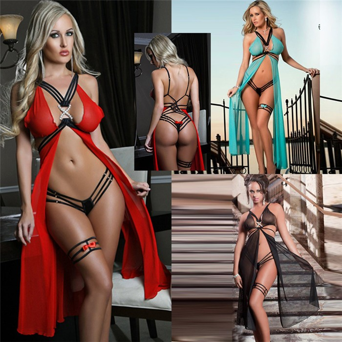 Sexy lace lingerie underwear women fashion Strappy dessous sexy Long nightgown dress nightwear seksi sexy transparent costumes