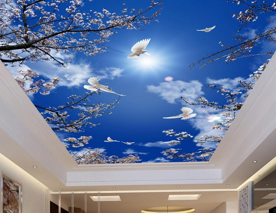 Custom 3d Ceiling Murals Cherry Blue Sky Pigeons Wallpaper