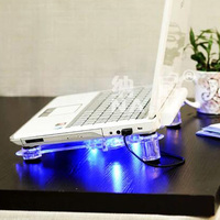 3 Fans Notebook Cooler Base With Blue LED Light Laptop Cooling Pad Stand Air Cooled Computer