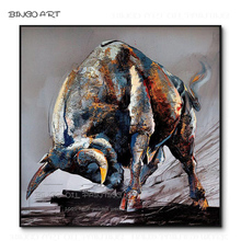 Excellent Artist Hand-painted High Quality Wall Artwork Bull Oil Painting Handmade Strong for Living Room