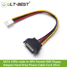 ULT-Best Cable SATA 15Pin male to 4Pin Female FDD Floppy  Adapter Hard Drive Power Cables Cord 20cm