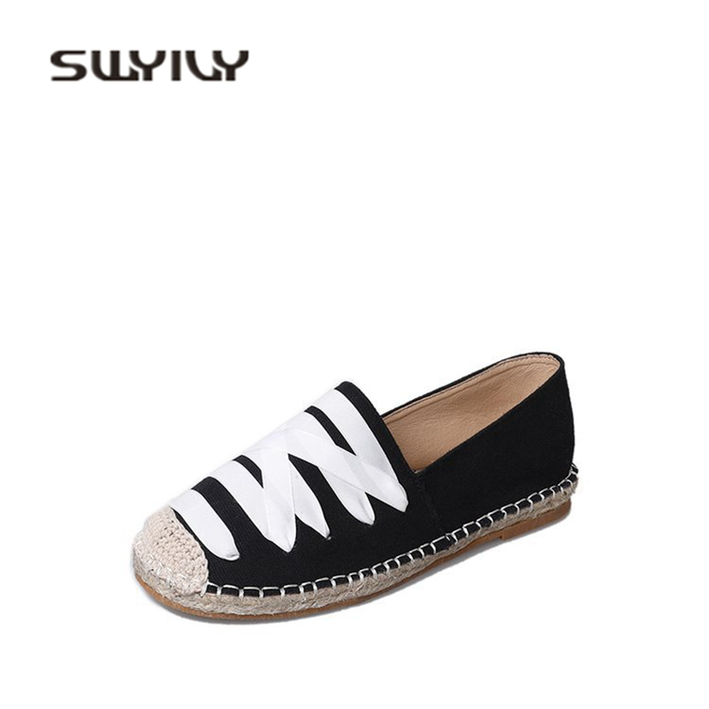 SWYIVY Woman Loafers Shoes Flat Traw 2018 Spring Woman Comfortable Slip On Lazy Canvas Shoes Woman Casual Sneakers Breathable swyivy women sneakers light weight 2018 41 woman casual shoes slip on lazy shoes comfortable candy color breathable net shoe