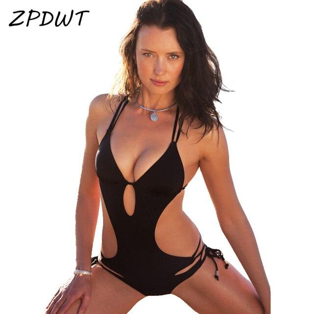 ZPDWT Black One Piece Swimsuit Swimwear Women Monokini Bathing Suit Cut Out  Bandage Trikini Padded Bra Swimming Suit for Women f6b71cb592
