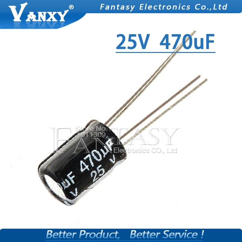 20PCS Higt Quality 25V470UF 8*12mm 470UF 25V 8*12 Electrolytic Capacitor