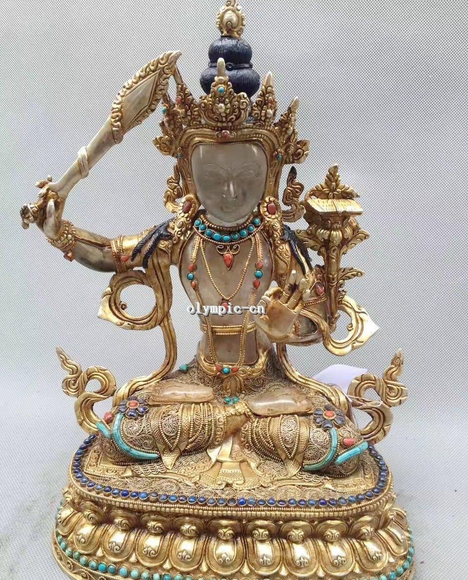 Tibet Nepal Handicraft Silver Filigree Gem Turquoise Coral Crystal Manjusri