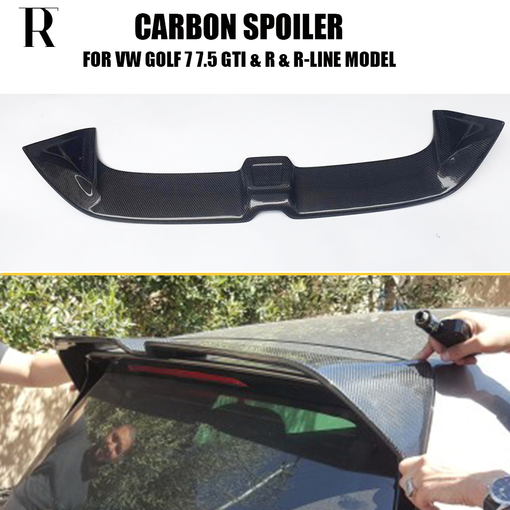 MK7 R Carbon Fiber Rear Roof Trunk Wing Spoiler for Volkswagen Golf 7 VII MK 7 R & R Line & GT i Model 2014 2018