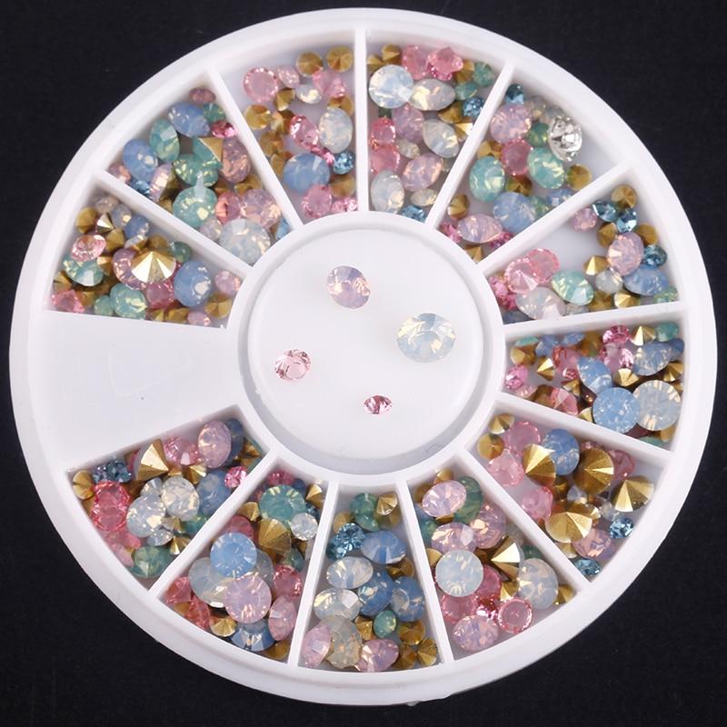 Blueness 1Wheel 3D Glitter Mix Color Crystal Design Manicure UV Gel Sticker Rhinestones For Nails Art Decorations Studs Diamond mp620 mp622 mp625 projector color wheel mp620 mp622 mp625
