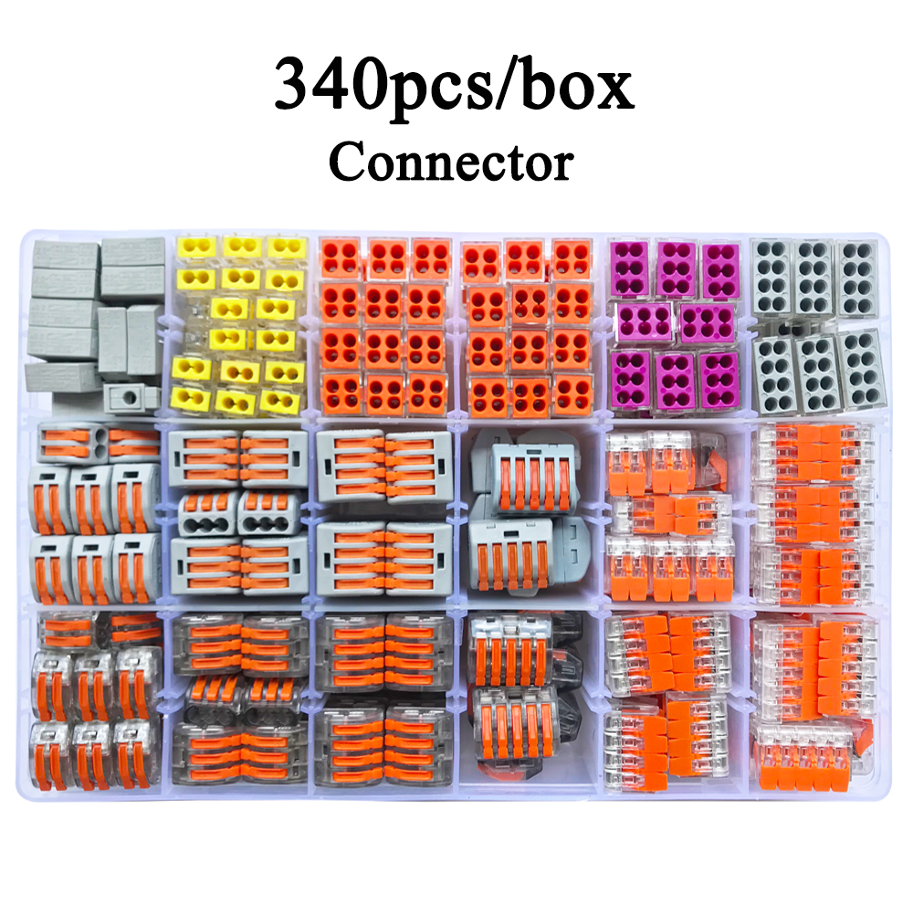 Wago Type Wire Connector 340PCS/Box Universal Compact Terminal Block Lighting Wire Connector For 5 Room Mixed Quick Connector eglo connector box 91207