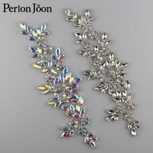 8.58*2.36 inch Ab Crystal rhinestone applique Welding flower patch sew on Wedding dress sleeves accessories YH Z006