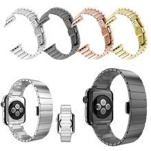 De calidad superior negro brazalete de eslabones de plata para apple watch band 42mm 38mm Hecho Por El Acero Inoxidable 316L Con extra de Dos Enlaces Como regalos