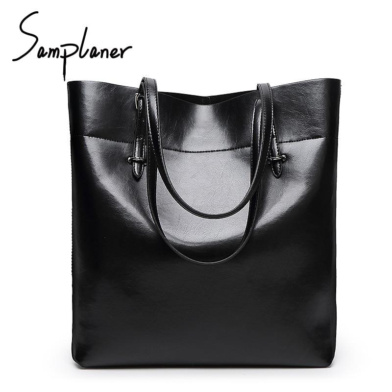 Fashion Big Leather Women Shoulder Bags Luxury Brand Handbags Simple Ladies Totes Top-handle Bags Female Bucket Bag Mujer Bolsa