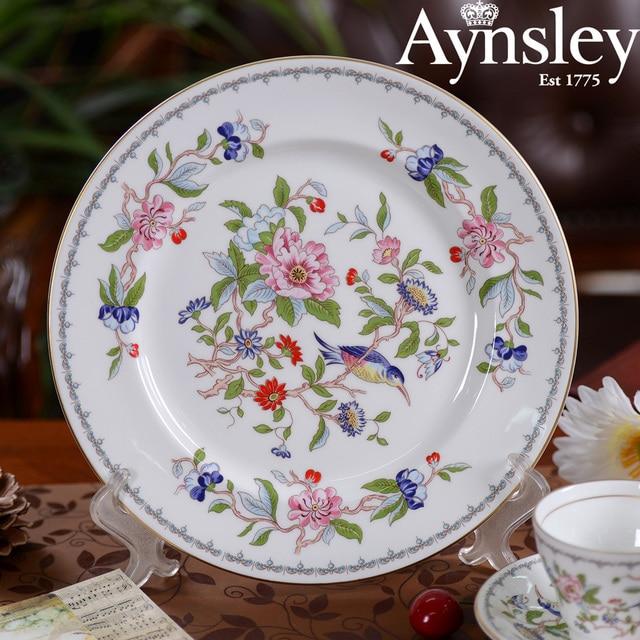 Aynsley bone china tableware ceramic plates British Western European 8-inch pan Penbrok canary bird & Aynsley bone china tableware ceramic plates British Western European ...