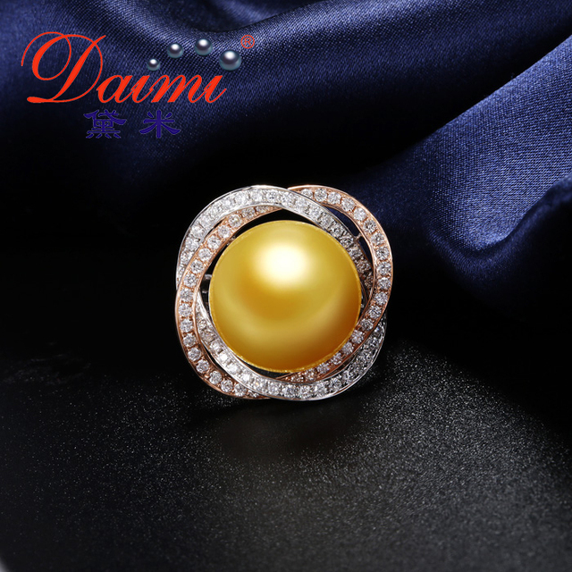 Top Quality Gold South Sea Pearl Ring Super Luxury Flower Pearl Ring 18k Gold Special Anniversary Ring