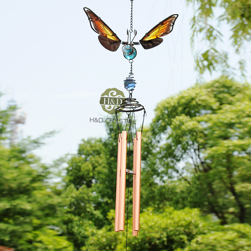 35 6 6 inch artificial butterfly wind bell metal glass for Outdoor hanging ornaments